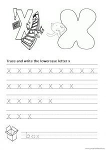 Trace and write the lowercase letter x worksheet for 1st grade and kindergarten