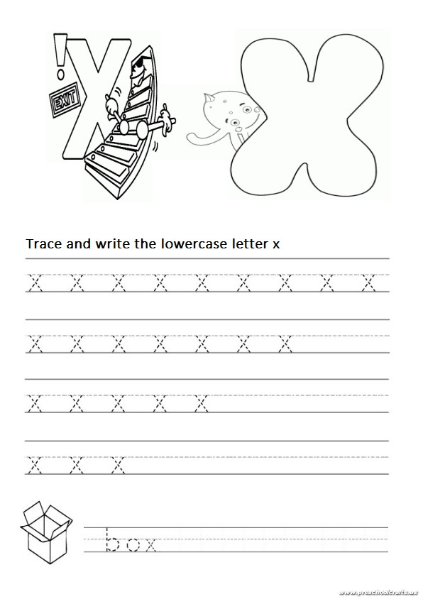 trace and write the lowercase letter x worksheet for 1st grade and kindergarten preschool crafts. Black Bedroom Furniture Sets. Home Design Ideas