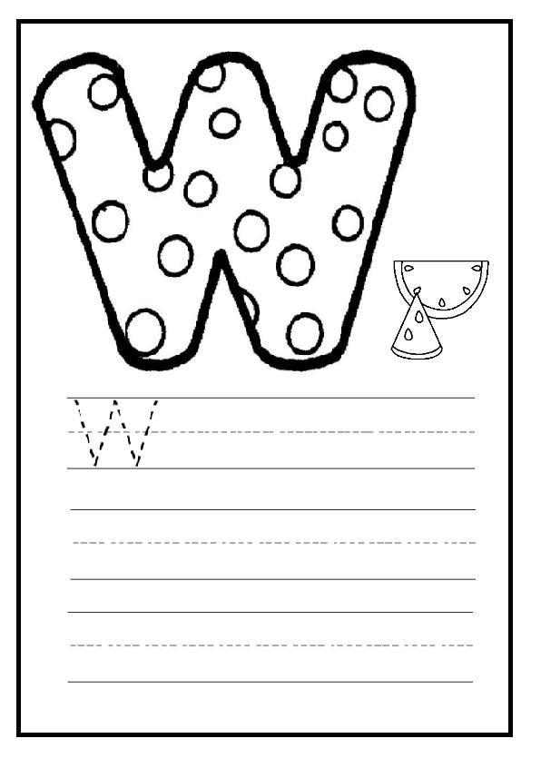 upper case letter w worksheet for preschool and kindergarten preschool crafts. Black Bedroom Furniture Sets. Home Design Ideas