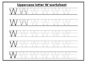 Upper case letter W worksheet free printable