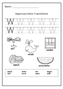 Uppercase letter W free printable worksheet