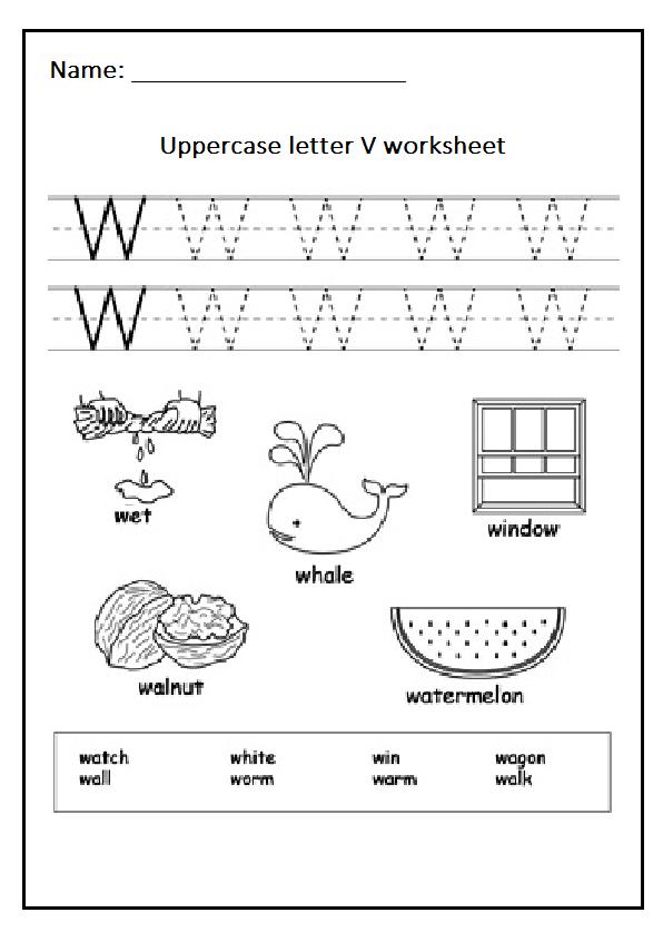 uppercase letter w free printable worksheet preschool crafts. Black Bedroom Furniture Sets. Home Design Ideas