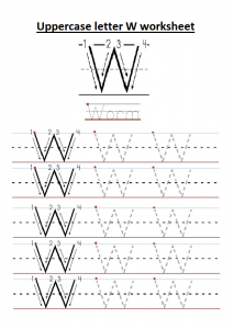 Uppercase letter W worksheet free