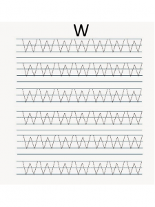 Uppercase letter W worksheet free printable
