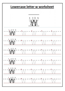 Uppercase letter W worksheet printable