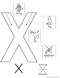Uppercase letter x worksheet for kindergarten