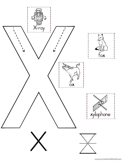 uppercase letter x worksheet for kindergarten preschool crafts. Black Bedroom Furniture Sets. Home Design Ideas