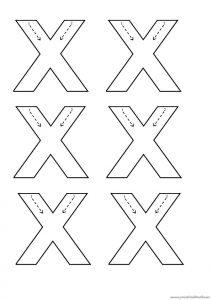 lowercase letter x trace worksheet for kindergarten