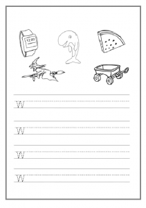 trace the lowercase letter w worksheet