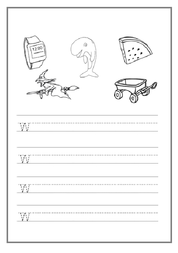 trace the lowercase letter w worksheet preschool crafts. Black Bedroom Furniture Sets. Home Design Ideas