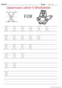 trace the uppercase letter X worksheet for firstgrade and kindergarten