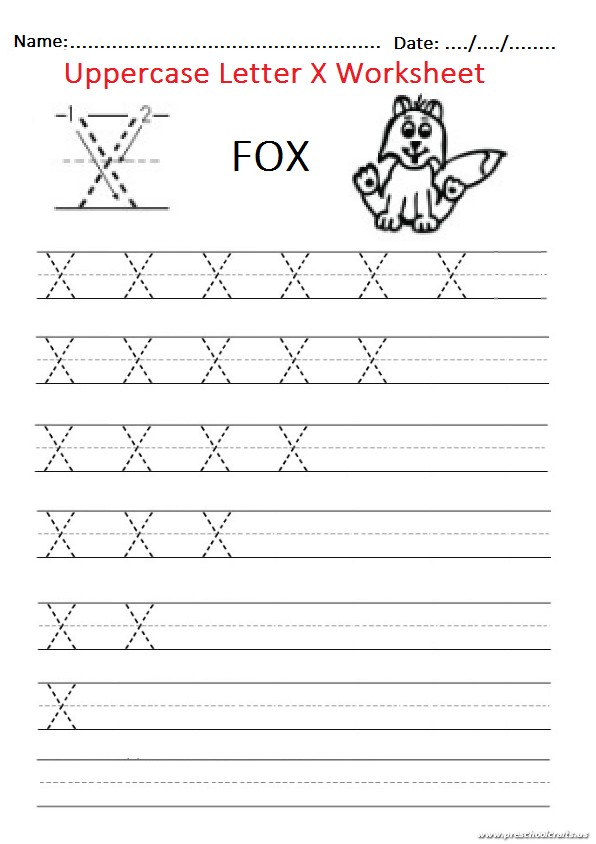trace the uppercase letter x worksheet for firstgrade and kindergarten preschool crafts. Black Bedroom Furniture Sets. Home Design Ideas