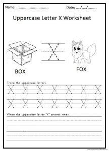 write the uppercase letter X worksheet for 1st grade