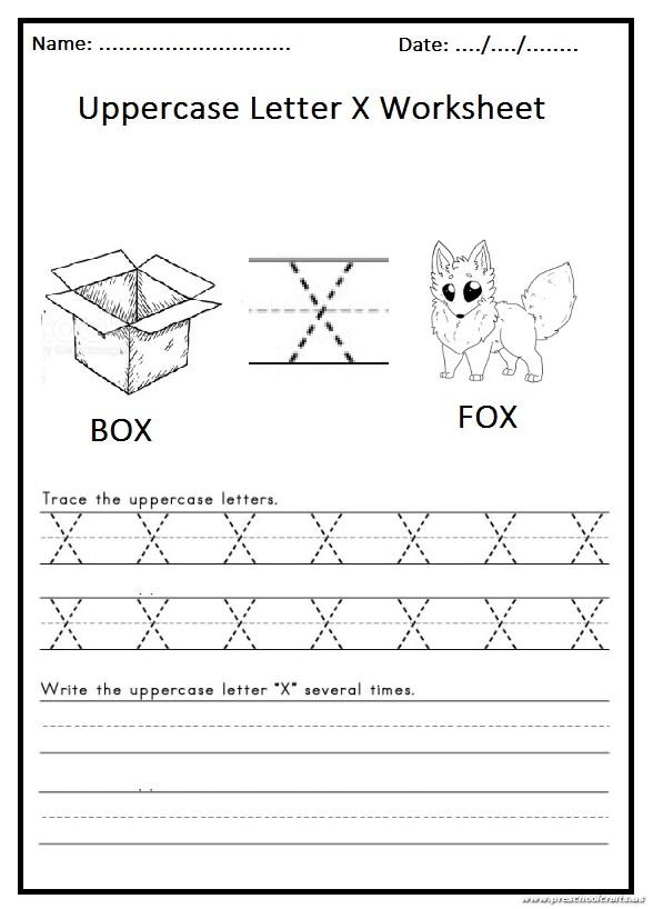write the uppercase letter x worksheet for 1st grade preschool crafts. Black Bedroom Furniture Sets. Home Design Ideas