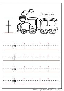 Lowercase letter T Worksheets Kindergarten and 1'st grade - t is for train coloring page
