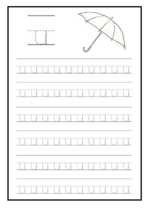 lowercase letter u free printable worksheet for kindergarten and elementary school preschool. Black Bedroom Furniture Sets. Home Design Ideas