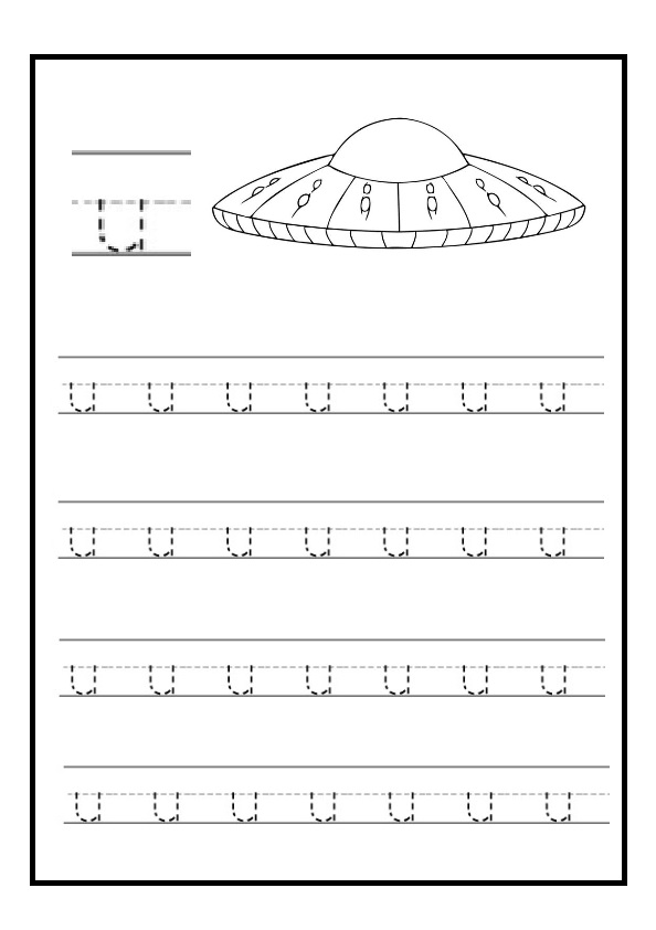 Letter U Worksheets For Kindergarten : Lowercase letter u free printable worksheet for