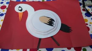 Paper plate stork craft ideas for preschool and kindergarten