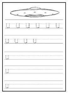 Trace and write lowercase letter u worksheet