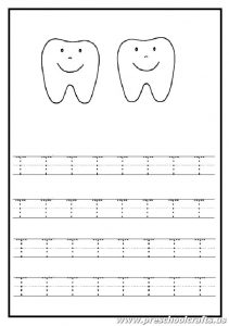 Trace the uppercase letter T worksheet - tooth coloring page for kindergarten