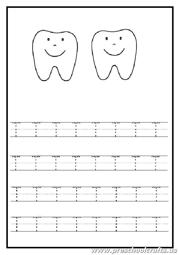 trace the uppercase letter t worksheet tooth coloring page for kindergarten preschool crafts. Black Bedroom Furniture Sets. Home Design Ideas