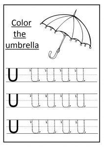 Trace the uppercase letter u worksheet and color the umbrella