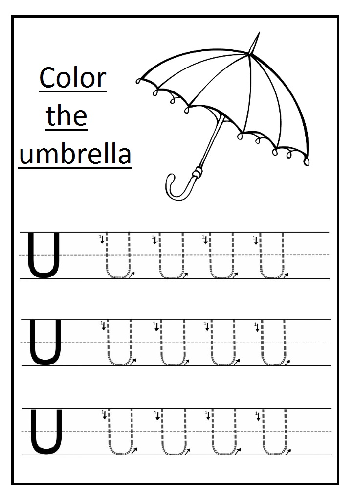 Trace The Uppercase Letter U Worksheet And Color The Umbrella on Printable Preschool Worksheets Cut And Paste Clothes