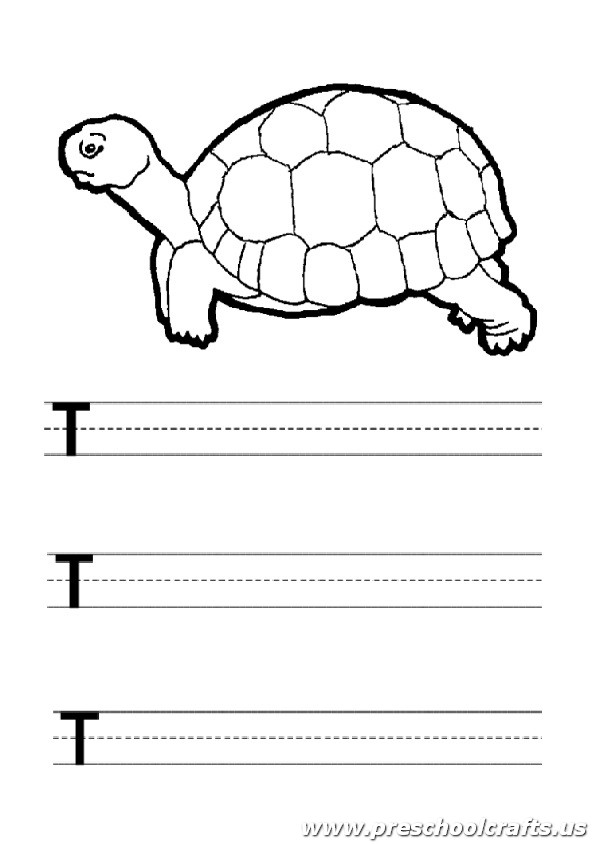 uppercase letter t worksheet turtle painting - Painting Worksheets For Kindergarten