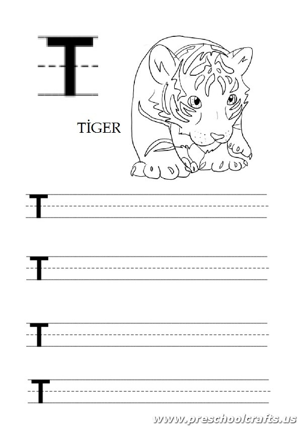 uppercase letter t worksheet for kindergarten and 1st grade tiger coloring page preschool crafts. Black Bedroom Furniture Sets. Home Design Ideas