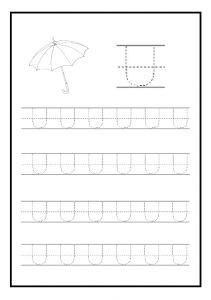 Uppercase letter u free printable worksheet for kindergarten and elementary school