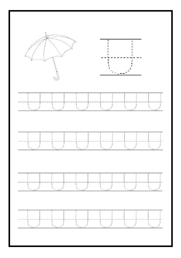uppercase letter u free printable worksheet for kindergarten and elementary school preschool. Black Bedroom Furniture Sets. Home Design Ideas