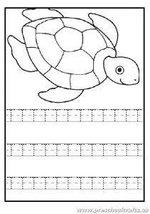 Write the uppercase letter t worksheet - turtle coloring pages