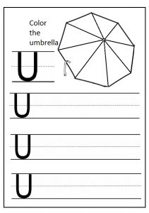 Write the uppercase letter u worksheet and color the umbrella