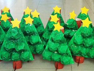 Christmas tree crafts for preschool preschool and for Christmas decorations using egg cartons