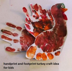 handprint and footprint turkey craft for thanksgiving
