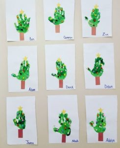 handprint christmas tree craft idea for homeschool