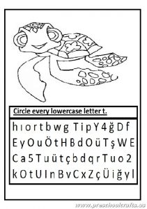 lowercase letter t worksheet - circle every letter t