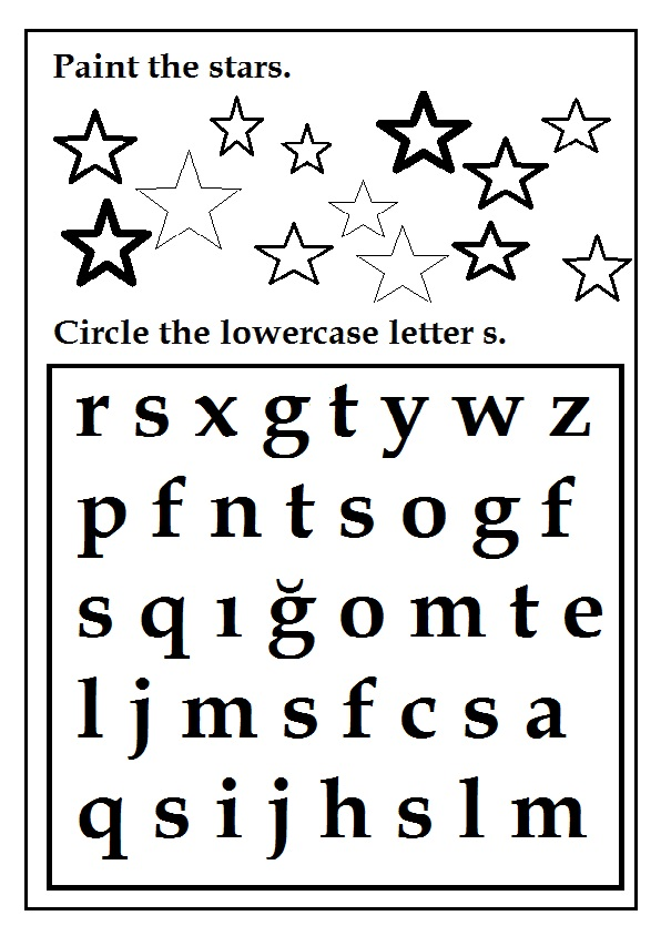 Circle The Lowercase Letter S Worksheet For Preschool And Kindergarten on Kindergarten Math Worksheets With Animals
