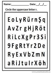 Circle the uppercase letter r worksheet