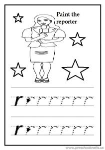 Free practice lowercase letter r worksheet for preschool