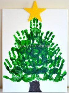 Hand print christmas tree craft ideas preschool and kindergarten