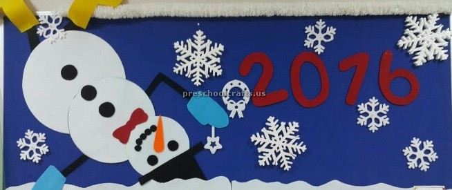 Happy new year bulletin board for preschool - Preschool Crafts