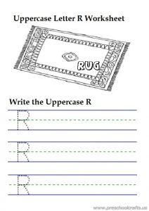 Uppercase letter r writing worksheets is for rug - 1st grade