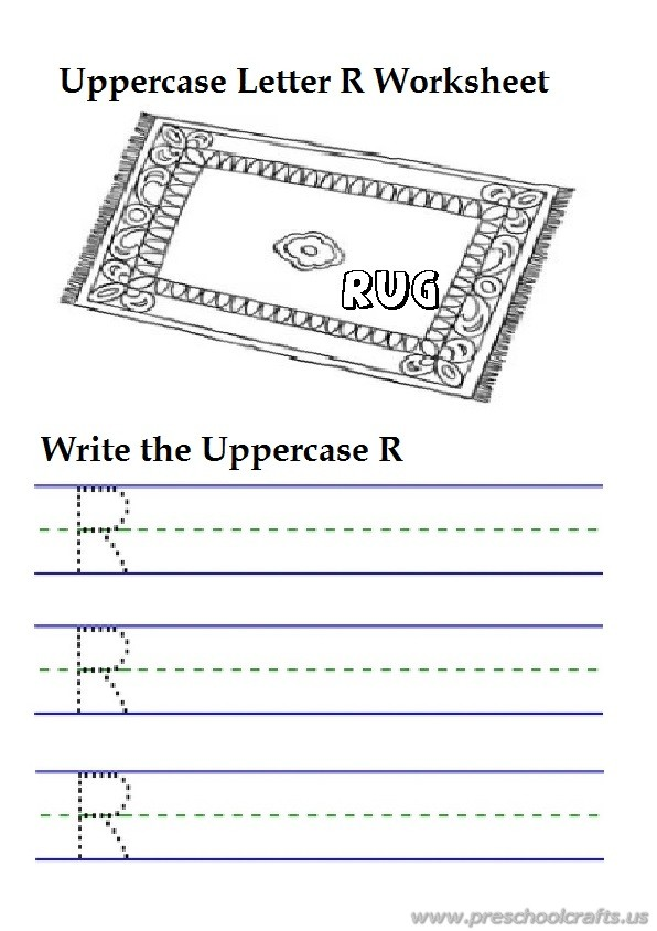 uppercase letter r writing worksheets is for rug 1st grade preschool crafts. Black Bedroom Furniture Sets. Home Design Ideas