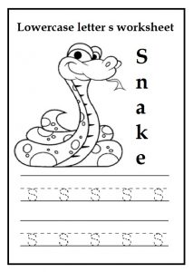 Lowercase letter s worksheet for preschool, kindergarten, 1st grade
