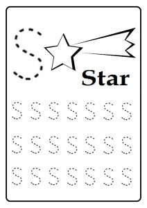 Trace Uppercase letter S worksheet for kindergarten and first grade