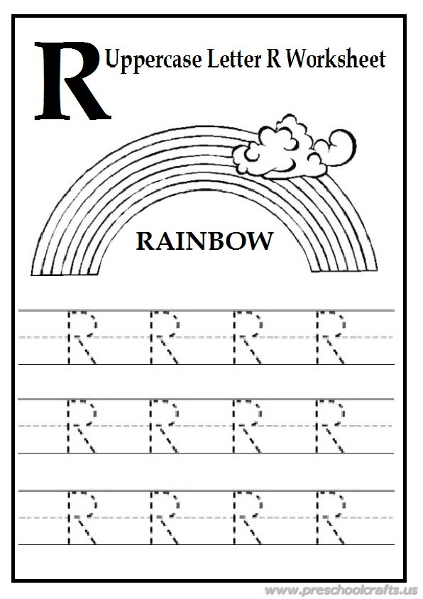 trace the uppercase letter r worksheet free printables preschool crafts. Black Bedroom Furniture Sets. Home Design Ideas