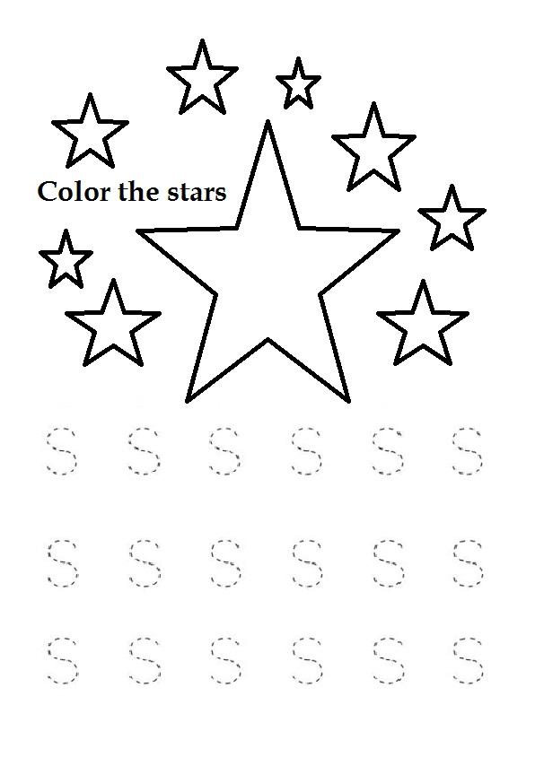 Trace the Uppercase letter s worksheet for kindergarten ...