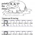Trace the lowercase letter r printables worksheet for preschooler