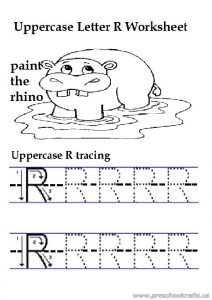 Trace the lowercase letter r printables worksheet for preschooler
